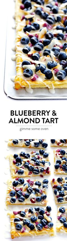 This Super-Easy Blueberry Almond Tart is surprisingly simple to make, easily to customize with your favorite fruits and toppings, and it's perfect for brunch or dessert anytime! | http://gimmesomeoven.com