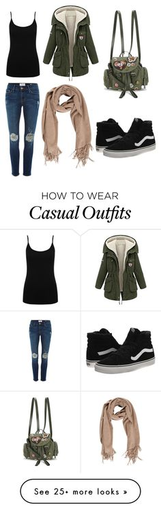 """""""casual outfit"""" by dana-tran-209 on Polyvore featuring M&Co, Frame Denim, Vans and RED Valentino"""