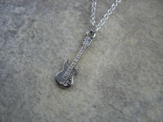Minimalist Guitar Charm Necklace with Birthstone by jewelrybyjo
