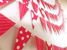 Paper Garland - Pink Spotty & Stripy Bunting Flags - 40ft Length via Etsy