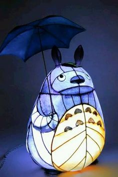 Totoro lamp. Stained glass.