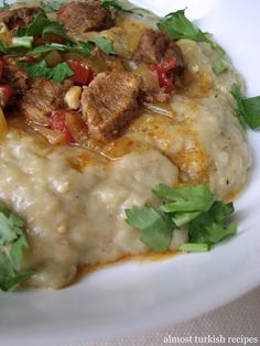 Almost Turkish Recipes: Sultan's Delight (Hünkar Beğendi) - Eggplant Puree with chicken or lamb