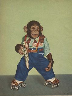 Zippy the chimp will shoot you with his gun, then roller skate away. Monkey See Monkey Do, Ape Monkey, Year Of The Monkey, Roller Derby, Roller Skating, Skating Rink, Primates, Cowboy Suit, Funny Animals