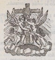 Xilografía en cabecera con dos ángeles junto a una cruz.