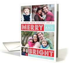 Bold Merry and Bright Christmas Holiday photo card by Origami Prints