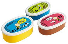"""Skater Peanuts """"Snoopy"""" 65th Anniversary Assorted Food Containers, Set of 3"""