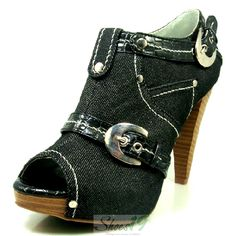 Finella-331 Black Denim Peep Toe High Heel Ankle Booties