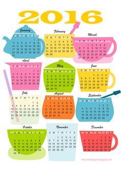 FREE printable 2016 kitchen calendar | #teatime