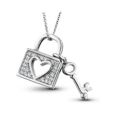 16 ct natural diamond heart key pendant sterling silver 18 chain reeds sterling silver diamond heart lock and key pendant necklace 75 mozeypictures Images