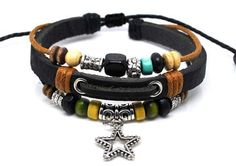 Adjustable Bracelet Cuff made of Black Leather Ropes and Color Wooden Beads