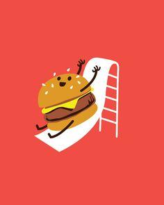 Slider (it's a mini-burger sliding down a slide!)