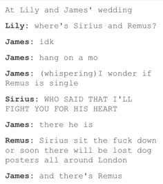'Lost dog posters' Remus has a very dark sense of humour!