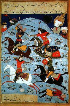 Persan 1313 Battle between Goliath and David Prints by Persian School Persian Pattern, Ancient Near East, Year Of The Horse, Iranian Art, Greek Art, Polymer Clay Crafts, Oriental, Islamic Art, Book Art