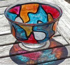 As Deep As The Ocean (Stained Glass Painted Pedestal FingerBowl) detail image Angled View Shows Sides Painted Black