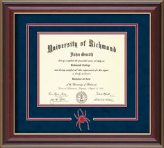University of Richmond Diploma Frame-Cherr Cut-Out-Navy/Red – Professional Framing Company Bachelor Master, Bachelor Of Arts, University Of Richmond, University Degree, Unique Graduation Gifts, Diploma Frame, 3d Laser, Library Of Congress, Custom Framing