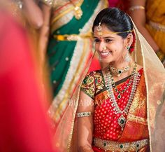 Throwback to one of the most beautiful weddings and the bride! Do check out our latest collection of Kanjeevarams and beautiful blouses at our studio! Vaddanam Designs, Saree Poses, Reception Sarees, Indian Bridal Sarees, Telugu Brides, Indian Look, Indian Blouse, South Indian Bride, Traditional Sarees