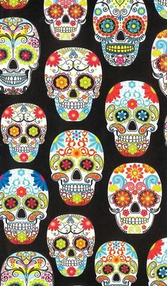 Novelty cotton fabric-multi skulls on black iphone wallpaper Mexican Skulls, Mexican Art, Day Of The Dead Skull Tattoo, Sugar Skull Wallpaper, Sugar Skull Art, Sugar Skulls, Day Of The Dead Art, Candy Skulls, Halloween Painting