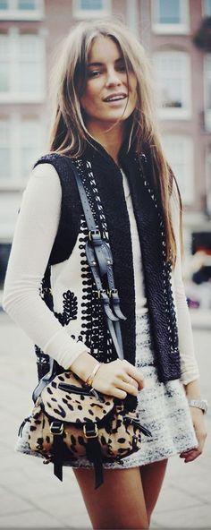 long hair, brunette, vest, black and white, mini skirt, texture, fall from: lolobu