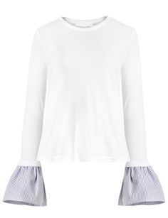 White crew neck long sleeve tee with striped contrast bell sleeve cuff. *Cotton blend.