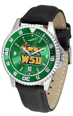 Wright State Raiders NCAA Mens Leather Anochrome Watch by SunTime. $79.95. Showcase the hottest design in watches today! A functional rotating bezel is color-coordinated to compliment your favorite team logo. A durable long-lasting combination nylon/leather strap together with a date calendar round out this best-selling timepiece.The AnoChrome dial option increases the visual impact of any watch with a stunning radial reflection similar to that of the underside of a CD. Percei...