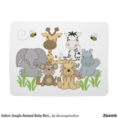 Safari Jungle Animal Baby Birth Stats Announcement Receiving Blanket