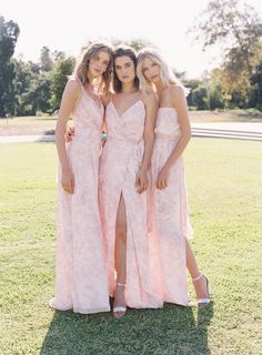We're dreaming in pastels thanks to the new Wildflower Blush chiffon bridesmaid gowns from the Ceremony by Joanna August Winter collection. Mix and match with solids too!