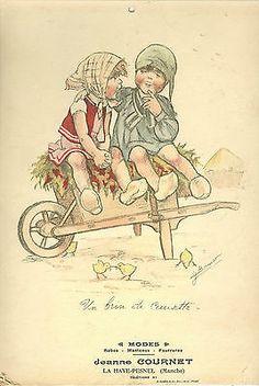 Germaine Bouret carton publicitaire de Modes La Haye Pesnel, (Manche)