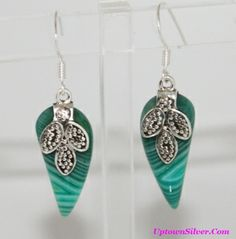 Green Botswana Agate Gemstone 925 Sterling Silver Artisan Leaves Dangle Earrings