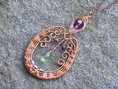 Copper+necklace++wire+wrapping+and+wire+weaving+with+by+sparklegem,+$60.00