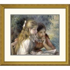 Global Gallery 'La Lecture' by Pierre-Auguste Renoir Framed Painting Print Size: