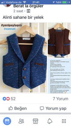 Baby Knitting Patterns, Baby Clothes Patterns, Knitting Stitches, Clothing Patterns, Moda Emo, Boys Sweaters, Baby Cardigan, Baby Dress, Lana
