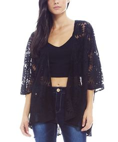 Loving this Black Floral Three-Quarter Sleeve Open Cardigan - Women on #zulily! #zulilyfinds