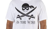 This Princess Bride shirt features the Dread Pirate Roberts mustache, mask, and bandana as well as the quote