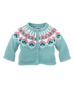 Harbor Blue Abstract Diamant Cardigan - Infant