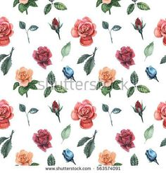 Seamless watercolor pattern with flowers and leaves, isolated on white background #closeup #isolated #blooming #decoration #natural #rose #green #floral #white #spring #petal #day #red #flower #leaf #yellow #bright #holiday #celebration #summer #blossom #bloom #card #gift #love #season #illustration #pink #flora #decorative #garden #design #bouquet #color #colorful #plant #beauty #wedding #art #romantic #bunch #valentine #vintage #beautiful #background #fresh #romance #nature #pattern