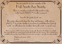 Speakeasy Invite