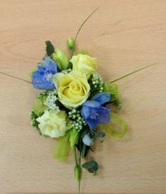 Rose bud, Lisianthus and Delphinium lapel corsage