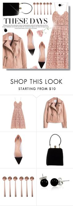 """leather jacket lace dress"" by jiabao-krohn ❤ liked on Polyvore featuring self-portrait, Gianvito Rossi, Dolce&Gabbana, canvas and Bling Jewelry"