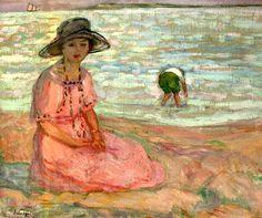 bofransson:    Henri Lebasque (1865-1937) Jeune fille assise au bord de la mer
