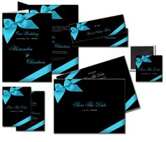 Pink Swan Events - Turquoise and Black Wedding Invitation (www.PinkSwanEvents.com)