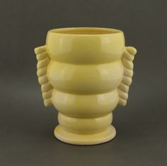 McCoy Pottery Ceramic Yellow Vase HTF Vtg.