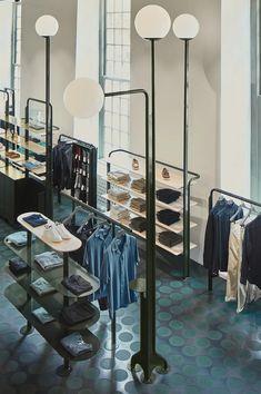 Retail Store Design, Retail Shop, Fashion Retail Interior, Sandstone Wall, Showroom Interior Design, Tokyo Design, Retail Concepts, Modular Furniture, Retail Space