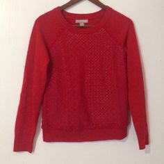 Red Banana Republic Eyelet Sweater, XS, EUC Banana Republic sweater, excellent condition! Size XS, long sleeves, lace eyelet pattern, 70% polyester, 30% wool, hand wash cold. This is truly a Banana Republic classic! Banana Republic Sweaters