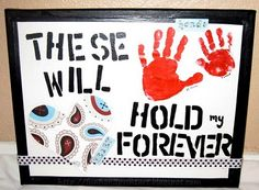 These Hands Will Hold My Heart Forever handprint canvas