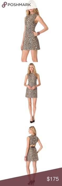 Alice + Olivia Leopard shift dress You'll definitely make a statement with this gorgeous tweed leopard print dress. Has buttons that fasten on top of a sexy cutout and has zip closure on the skirt and side pockets, fully lined. Alice & Olivia Dresses