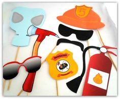 Props, Photoboots, Plaquinhas divertidas para fotografar. Bombeiro Laranja. Máscara, óculos, extintor, bigode, machado, distintivo, brasão, capacete.