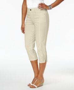 Style & Co Petite Slit-Hem Capri Pants, Created for Macy's - Tan/Beige 16P