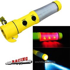 Linterna Multifuncional con Rompedor de Ventanas y Cortador de Cintos Color Amarillo -- 4,05€