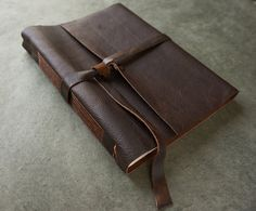 Large Leather Journal or Sketchbook  8 x 10  by badgerandchirp, $125.00