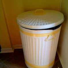 Beau Canu0027t Find A Trash Can That Matches Your Kitchen? We Took A Basic Metal  Trash Can And Painted It....super Cute!